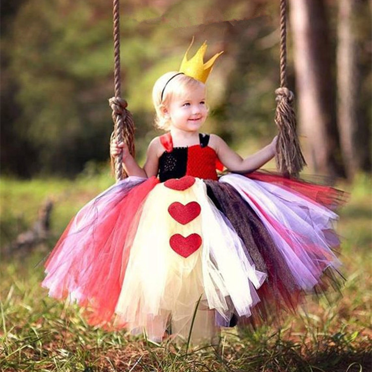 New Queen Uniform Tutu Dress Girls Halloween Cosplay Fancy Girl Party Dresses Masquerade Princess Dress Kids Costumes Birthday
