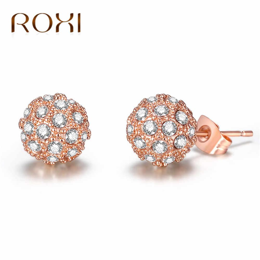 0e298b63e ROXI Luxury Round Austrian Clear CZ Earrings for Women Fashion Wedding  Party Stud Earrings Rose Gold