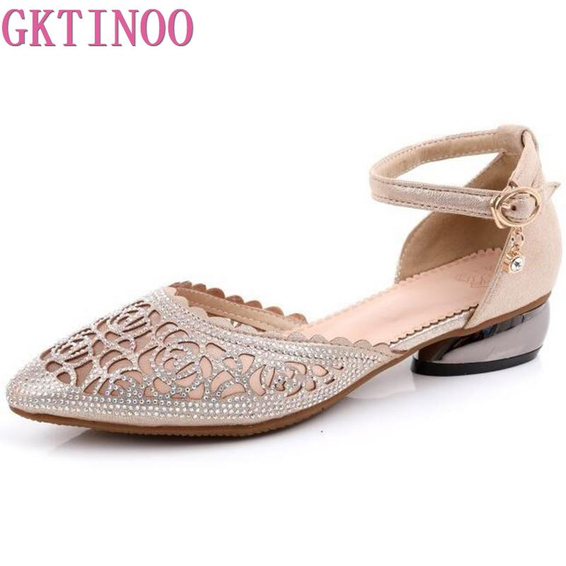 GKTINOO Summer Women Shoes Genuine Leather Fashion Crystal Ladies Sandals Pointed Toe Mesh Party Thick Low Heels Sandalias