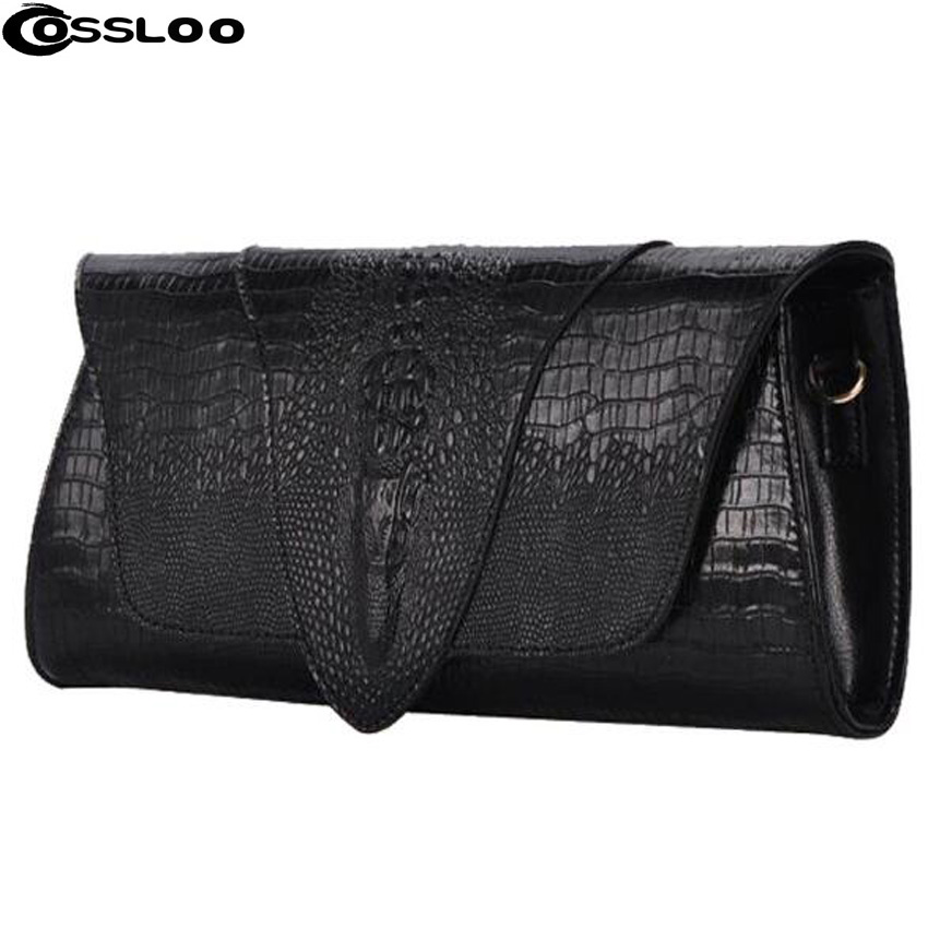 Фотография COSSLOO Women leather day clutch Brand Genuine Leather Bags Women Crocodile Pattern Leather Shoulder Bag Evening Wallet Purse