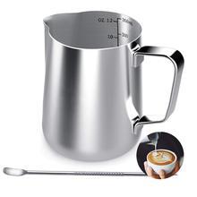 ABFP молочный кувшин, 350 мл ручной кофе кувшин для молока в виде молочной вспенивания кувшин чашка с меткой измерения и латте художественная ручка, шаг молока