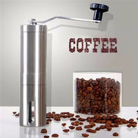 Fashion Hot Silver Stainless Steel Hand Manual Handmade Coffee Bean Grinder Mill Kitchen Grinding Tool 30g