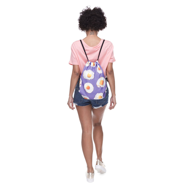 3D Printed Casual Drawstring Backpack For Teenage Woman Drawstring Bag Packing Cubes Large Capacity Mochila Purple Package