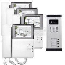 """DIYSECUR 4.3 """"Monitor HD Apartamento Video de La Puerta Sistema de Teléfono Video Del Timbre Del Intercomunicador 700 Tecla Táctil de la Cámara del IR para 4 Familias"""