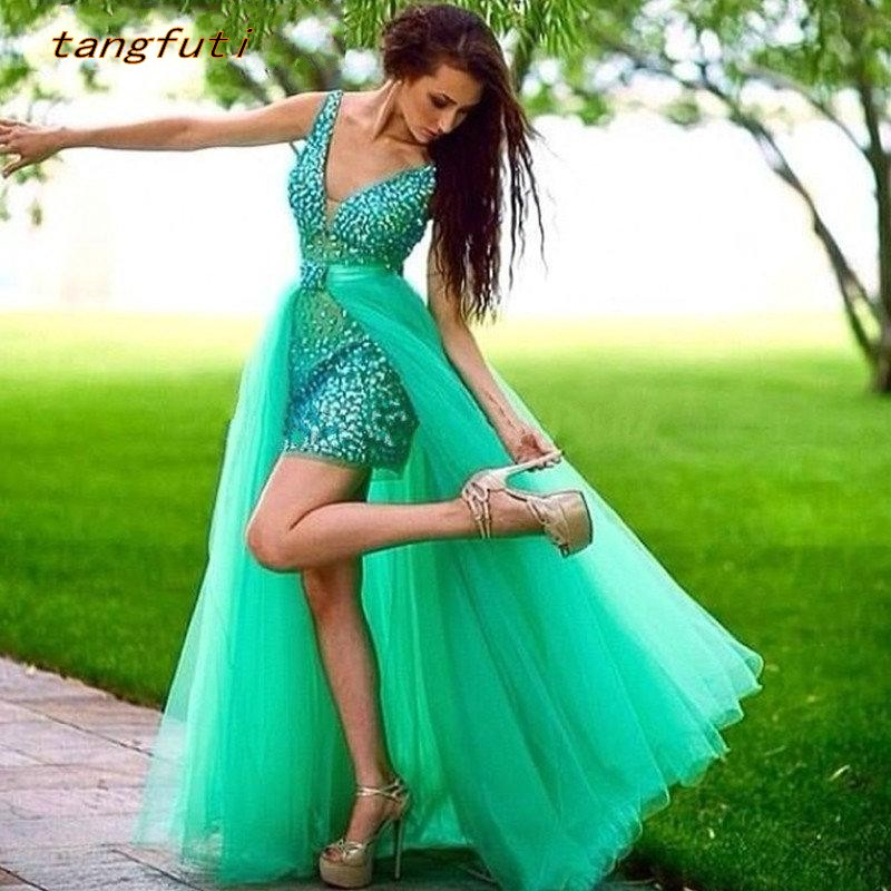 Removable Skirt Green   Prom     Dresses   for Pageant Women Party Vestido De Festa Sexy V Neck Crystal Tulle Evening Party Formal Gowns