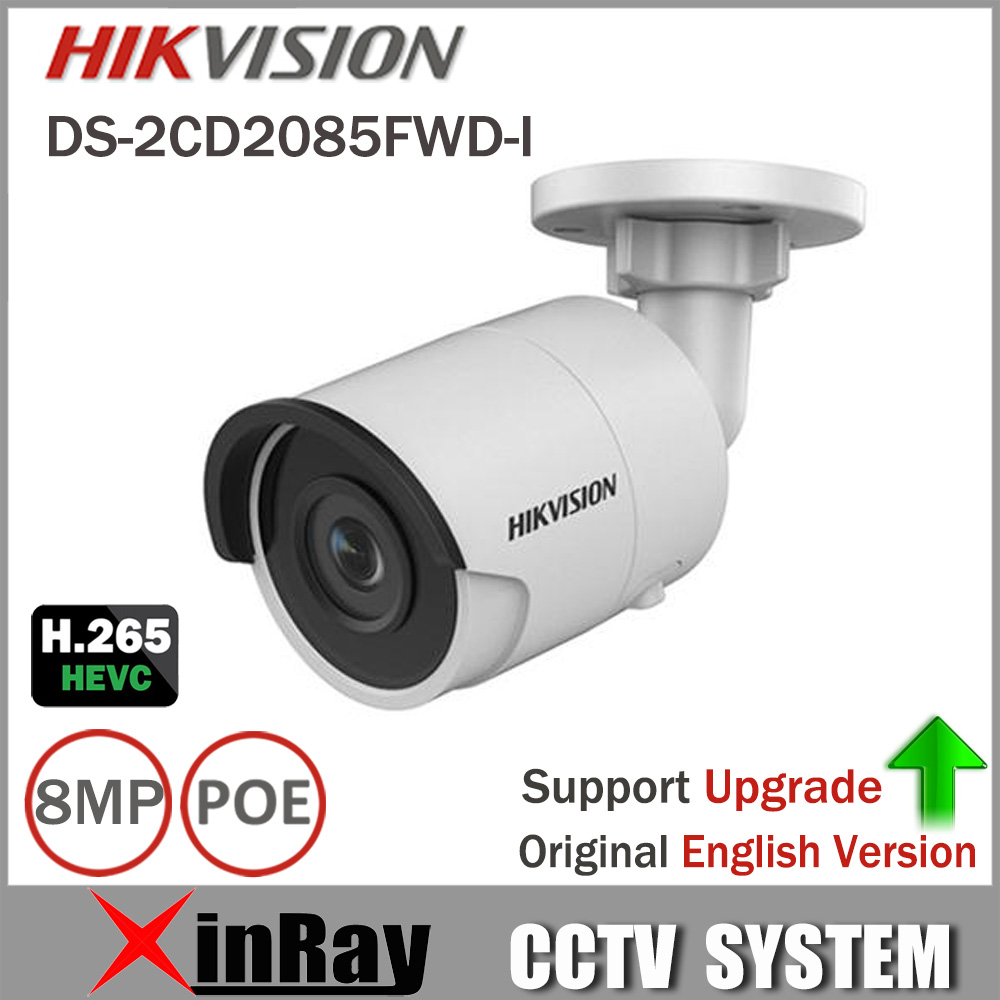 HIKVISION 8mp CCTV Camera Updateable DS-2CD2085FWD-I IP Camera High Resoultion WDR POE Bullet CCTV Camera With SD Card Slot hd 2mp h 265 home security ip camera surveillance bullet network cctv camera wdr poe high resoultion with sony291 chipset