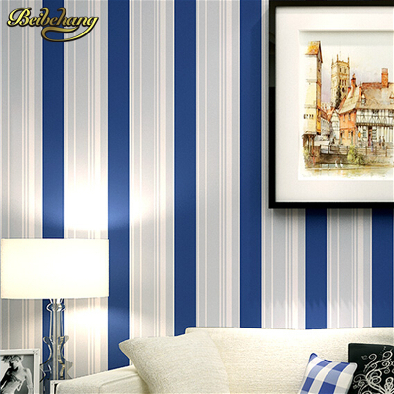 beibehang papel de parede. Modern Grey White Blue stripes Wallpaper roll Classic Wall coverings Wall Paper for living room boys mediterranean style sky blue wallpaper modern pure color wall paper roll for bed room livingroom