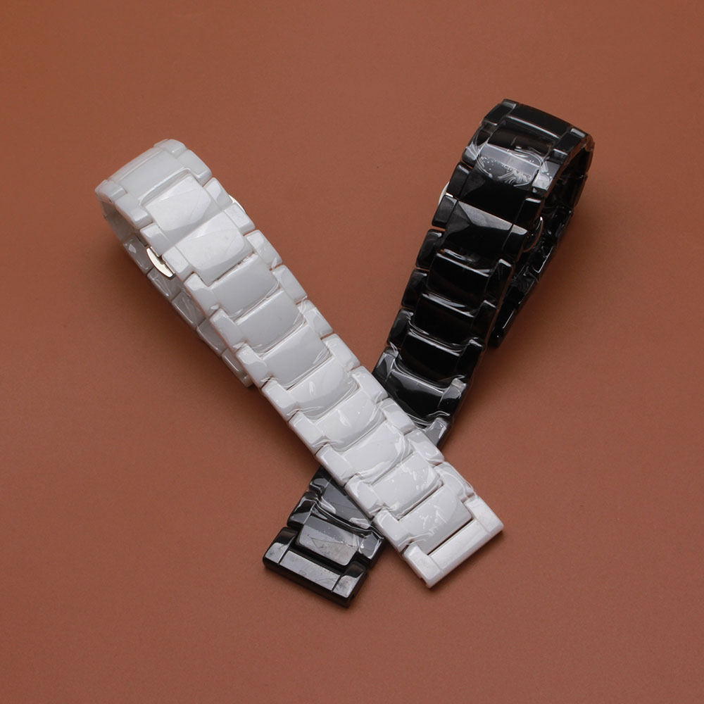 Pure Ceramic watchband bracelet 22mm white or black watch band watch strap Butterfly Buckle wristband high quality fit gear S3 jansin 22mm watchband for garmin fenix 5 easy fit silicone replacement band sports silicone wristband for forerunner 935 gps
