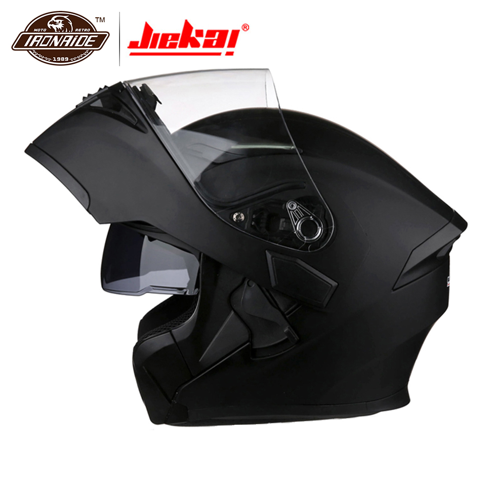 цена на JIEKAI Motorcycle Helmet Full Face Men Flip Up Moto Helmet With Inner Visor Racing Capacete