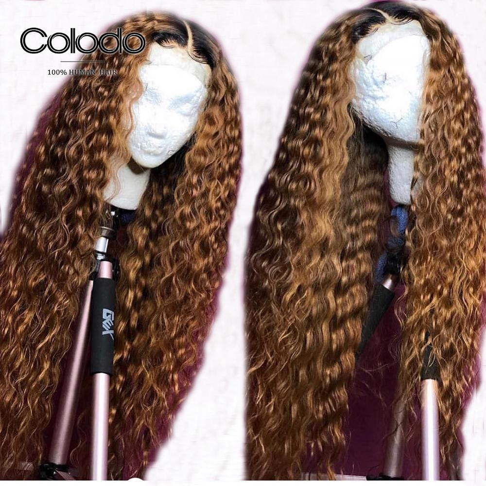 COLODO Curly Human Hair Wig Pre Plucked with Baby Hair Remy Hair Brazilian Ombre Lace Front