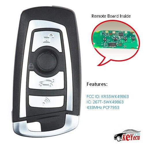 KEYECU Smart Remote Key Fob 4Button 434MHZ/868MHZ/315MHZ PCF7953 For BMW F Series CAS4+/FEM 2011-2017