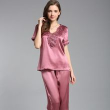 Brand High-grade 100% Real Silk Womens Pajama Sets Sexy Lace Short-sleeved Sleepwear Two-piece Mulberry Pyjamas Homewear