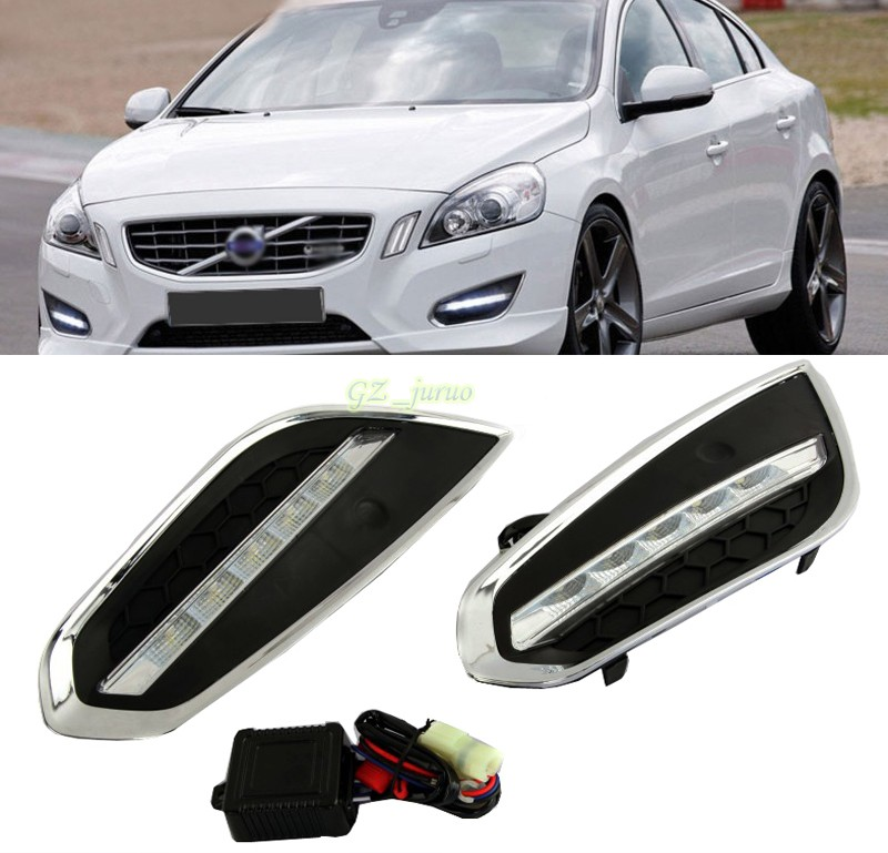 for VOLVO S60 V60 2009 2010 2011 2012 2013 LED Direct Fit LED Daytime Running Lights w/Turn Signal Auto parts