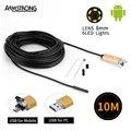 Золото 2In1 8 мм 10 М USB Android Камеры OTG Водонепроницаемый Micro USB Эндоскопа Инспекционной Бороскоп Камера для Андроид Телефон