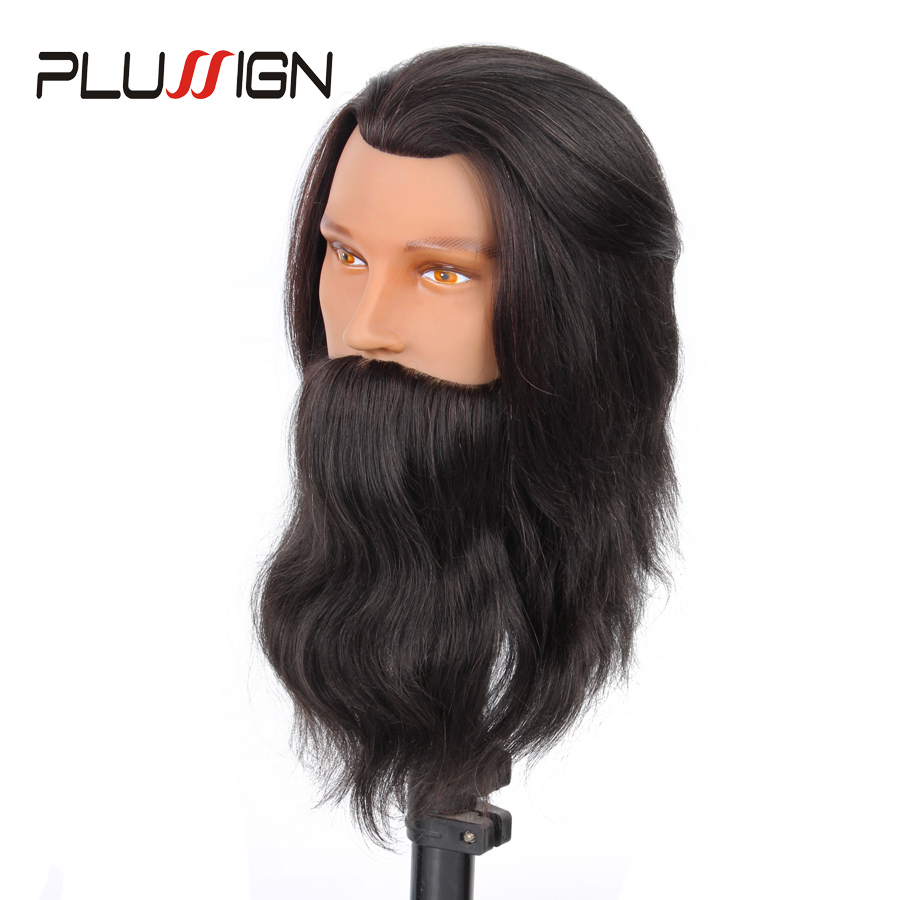 Hot Sale Male Mannequin Head With Beard 100% Real Human Hair Men Hairdressing Training Manikin Head For Practice hot sale 8 male mannequin head 100% virgin human hair hairdressing training head hairstyles manikin head dolls with free clamp