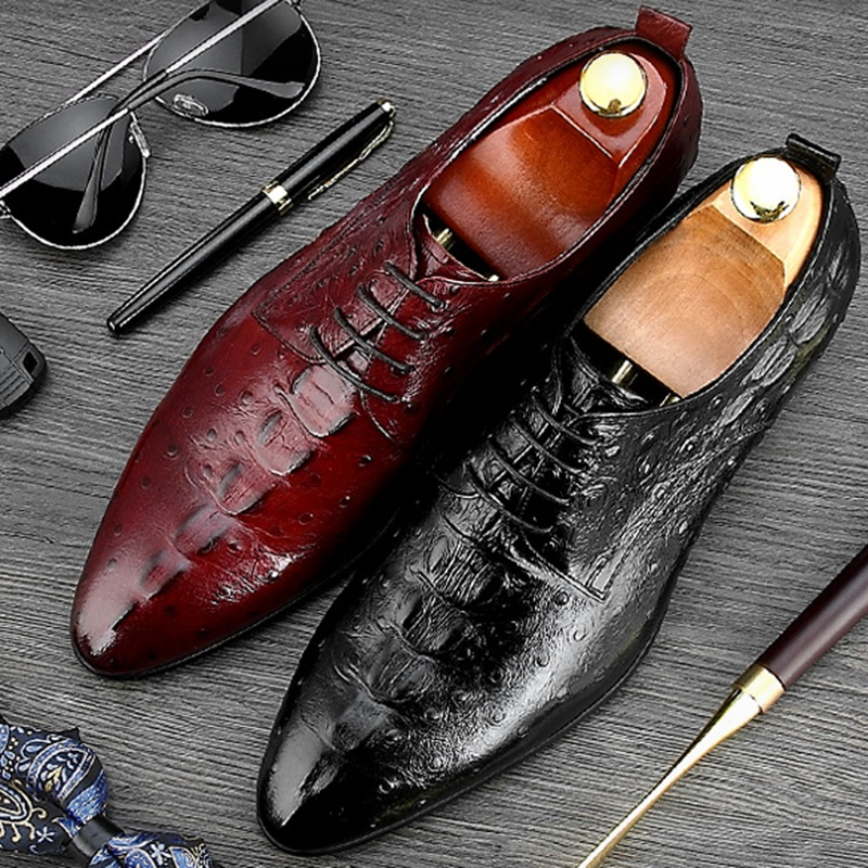 Italian Pointed Toe Derby Man Formal Dress Wedding Shoes Ostrich Pattern Genuine Leather Lace up Men's Party Prom Footwear NE33 hot sale mens genuine leather cow lace up male formal shoes dress shoes pointed toe footwear multi color plus size 37 44 yellow