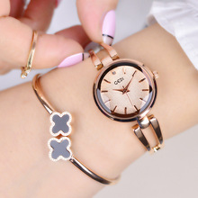 Fashionable Lady's Bracelet Quartz Watch Stainless Steel Rose Gold Female Wristw