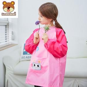 Image 3 - Детский водонепроницаемый фартук с длинным рукавом, мультяшный рисунок, нагрудник для кормления, Детский фартук для рисования, пальто для детей, подарок на день рождения