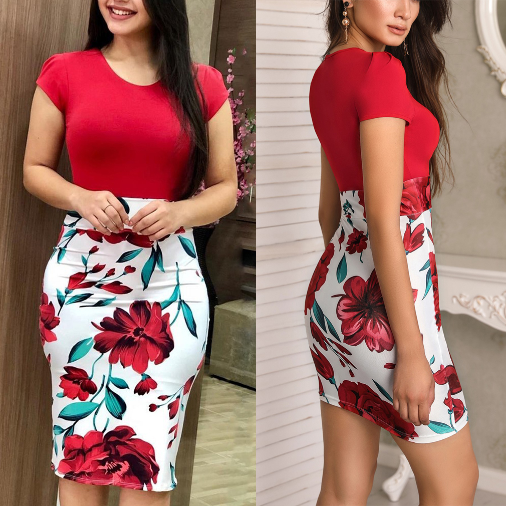 HTB1NeVLXIvrK1Rjy0Feq6ATmVXa7 Women Dresses Short Sleeve Floral Print Patchwork Slim Bodycon Dress Cocktail Party Pencil Dress
