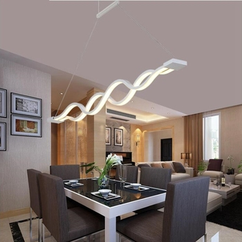 80W Modern Acrylic Wave Pendant Lights Acryl Long Pendant Lamps for Dinning Room Table Living Room Long LED Dimmable Available