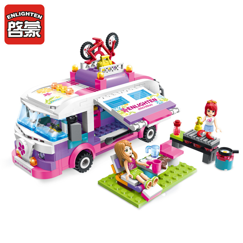 ENLIGHTEN City Girls Outing Bus Car Building Blocks Sets Bricks Model Kids Gift Toys Compatible Legoing Friends lepin 02012 city deepwater exploration vessel 60095 building blocks policeman toys children compatible with lego gift kid sets
