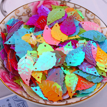 Free shipping 300pcs/lot  13*22mm Leaf with 2 holes sequins Mixed colors Jewelry Accessories cloth crafts confetti clothing