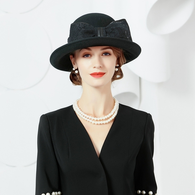 c6326c83deb8c8 Winter Autumn Wool Felt Hat Black Fedora For Womens Wide Brim Cloche Hat  With Bowknot Lady Chapeu Vintage Ladies Church Hats