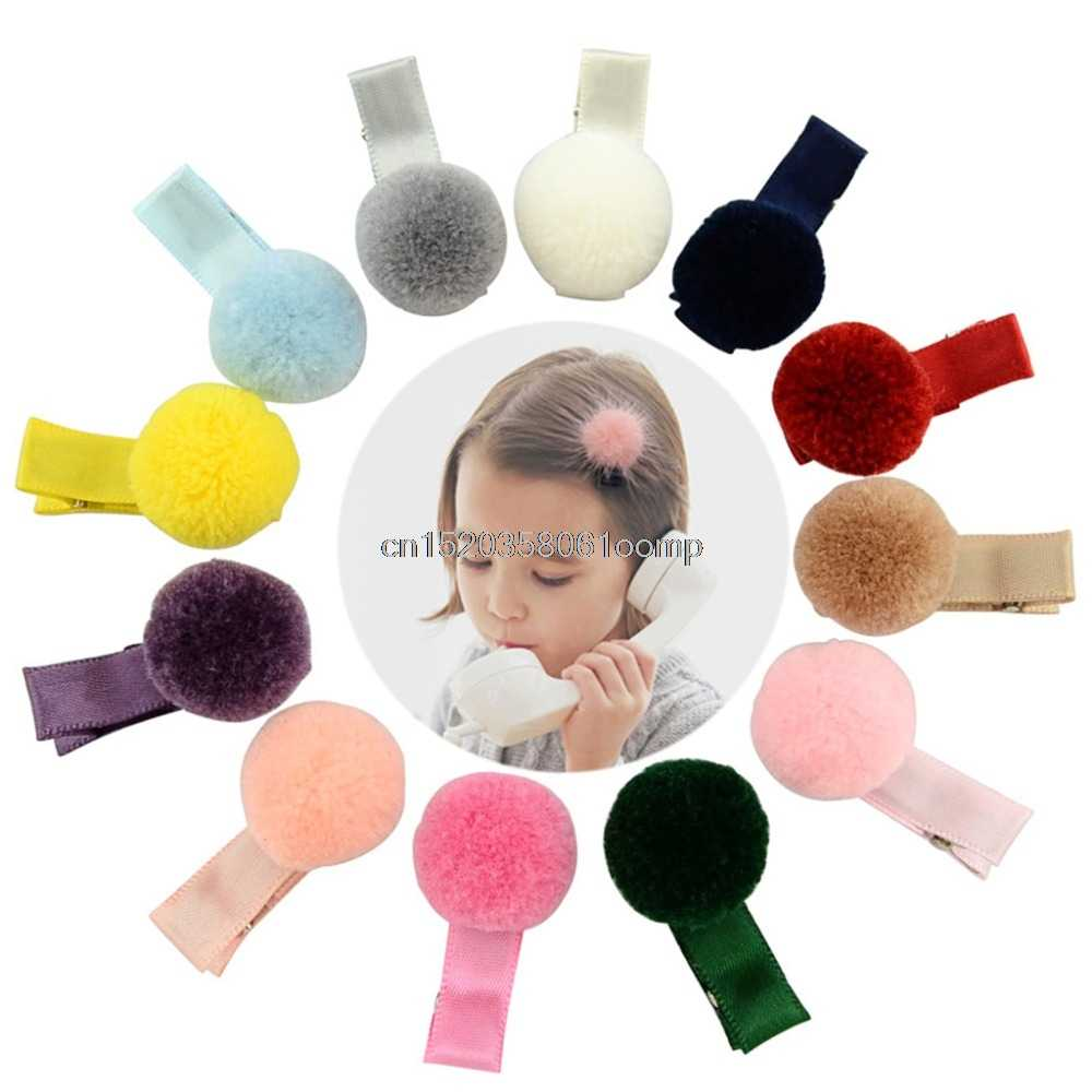 12 Pcs Baby Girl Soft Fur Ball Hair Clip Handmade Barrettes Head Accessories New #K4UE# Drop Ship