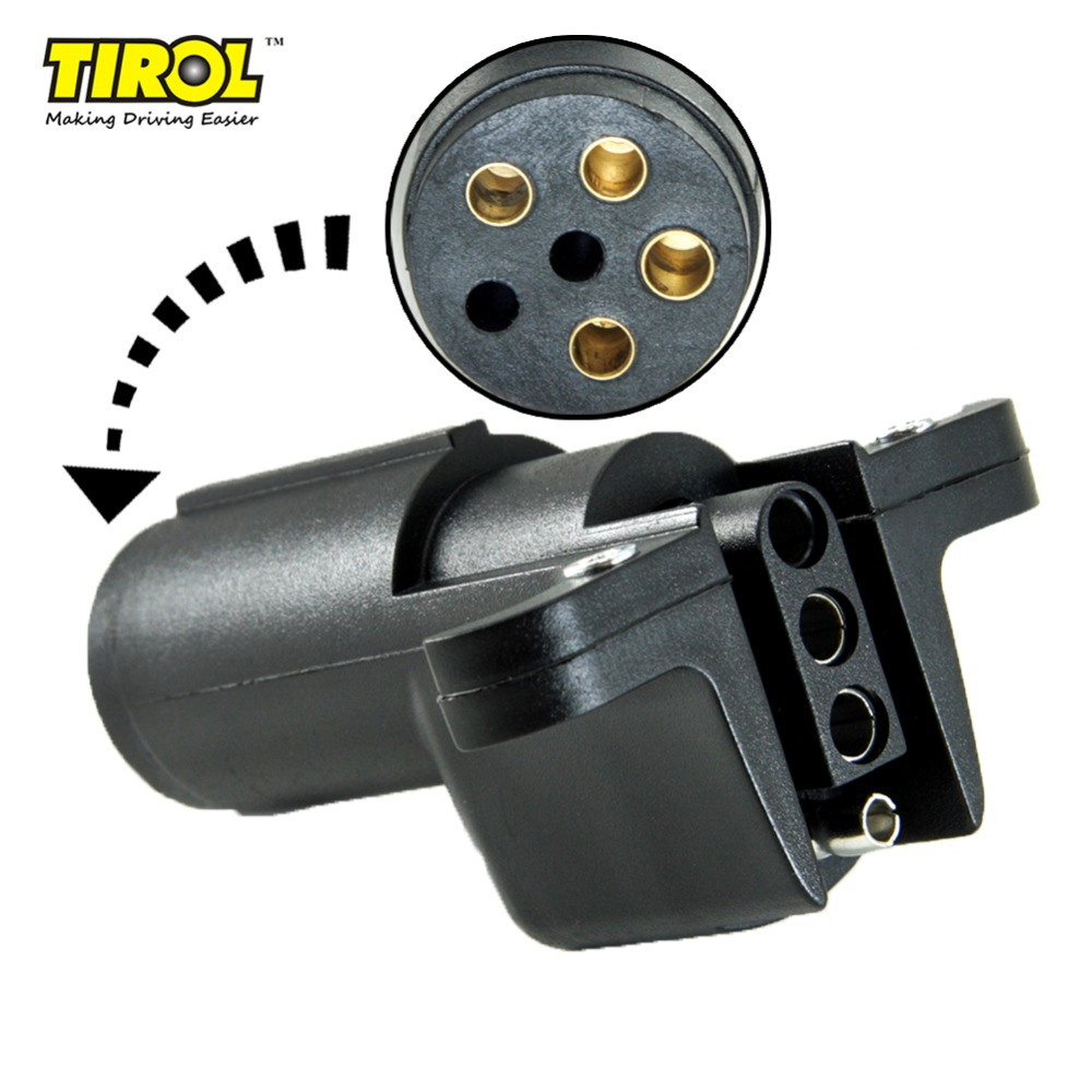 2A 7 Way Round to 4 Pin Flat Blade Trailer Connector Plug Light Adapter for RV