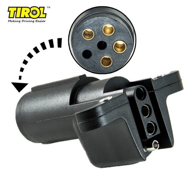 TIROL 6 Way Round Pin to 4 Way Flat Trailer Wiring Adapter Trailer ...