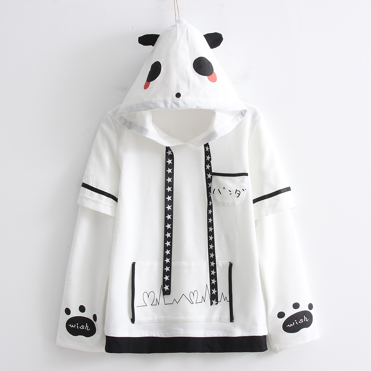 Autumn winter fashion giant panda design Sweatshirt casual sweet lovely panda ears hooded plus velvet white pullover coat Female