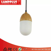 Lampplus Modern designed NUTS Pendant light Droplight Ceiling lamp with wooden base and milk white glass lampshade