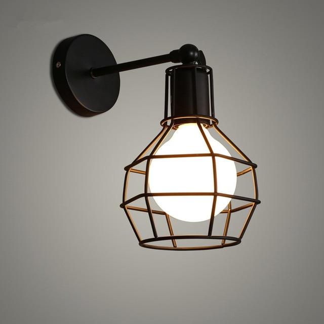 Vintage Retro Eisen Käfig Wandleuchte Retro Loft Flur Treppe Lampe ...