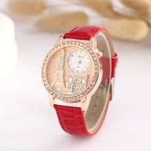 цены 2019 Eiffel Tower Rhinestone Women Quartz Watch Fashion Casual Luxury Ladies Leather Wrist Watch Gift Female Clock reloj mujer