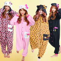 2015 Novelty Anime Kitty Leopard Kitty KT Cat Onesie Cosplay Pajamas For Women Adult Unisex Halloween