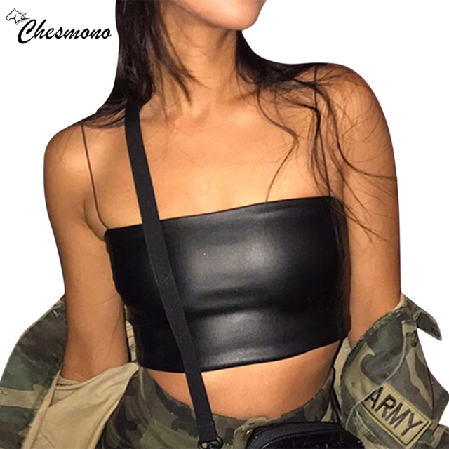f039d4c6c3 Summer Black Sexy PU Leather Crop Tops Women Boob Tube Top Tank Short Night  Club Party