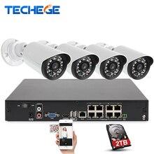 8CH 1080 P 48 V POE NVR kit 4 pcs 2MP 3000TVL PoE IP caméra P2p couverture CCTV Système IR Nuit Extérieure Vision Vidéo Surveillance Kit