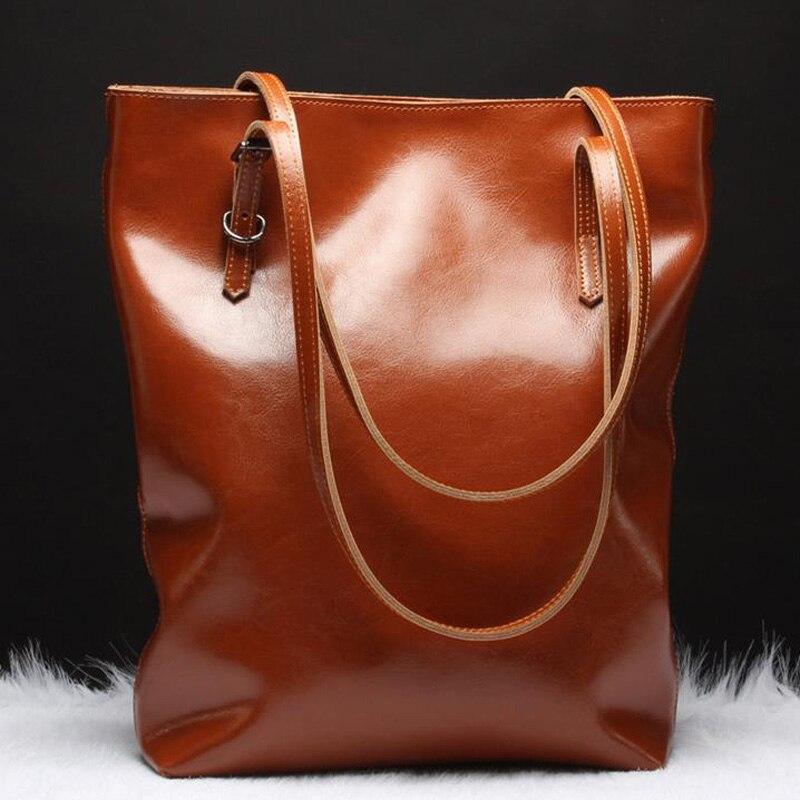 YUFANG bolsos de cuero genuino para mujer bolsos femeninos bolso de mano de moda piel Natural bolso de hombro de mujer bolso de cera de aceite-in Cubos from Maletas y bolsas    3