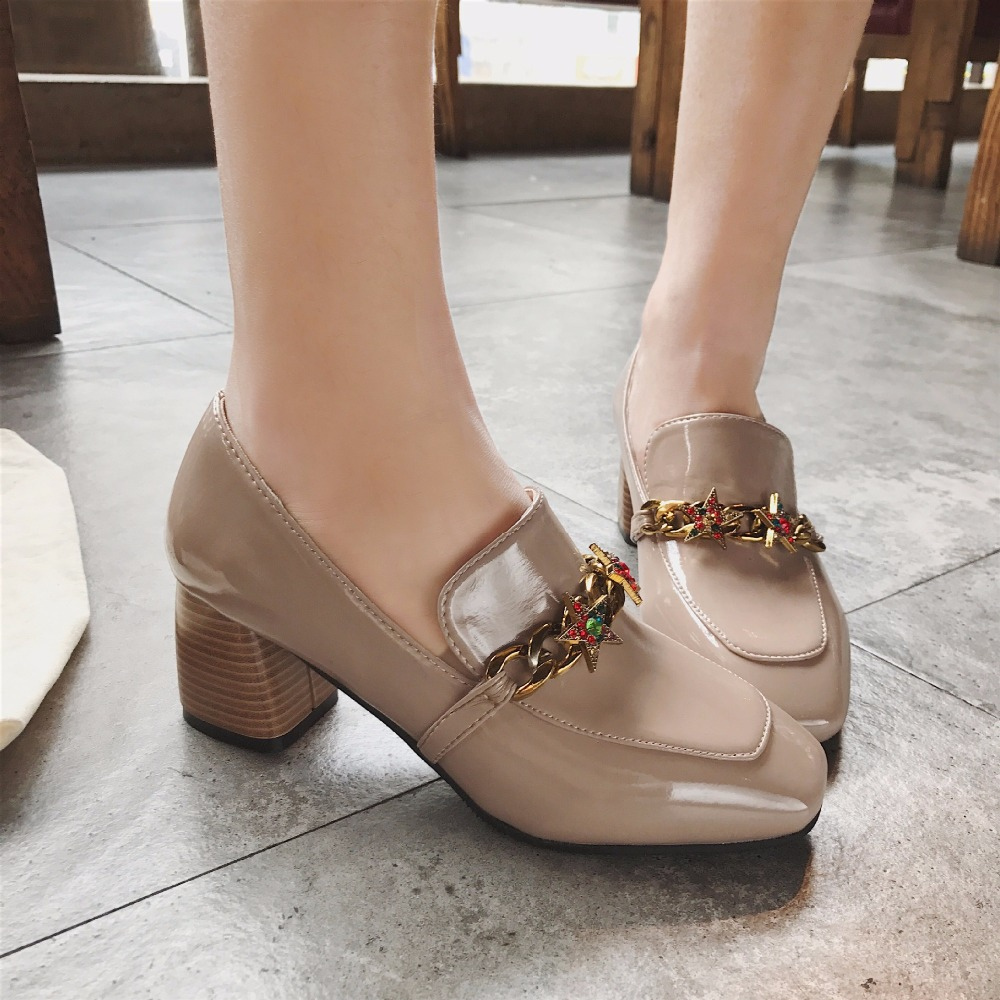 1a26e8f39465 Mixed-Color-crystal-chunky-loafers-metal-chain-decorate-pumps-star-slip-on-high- heels-office-shoes.jpg