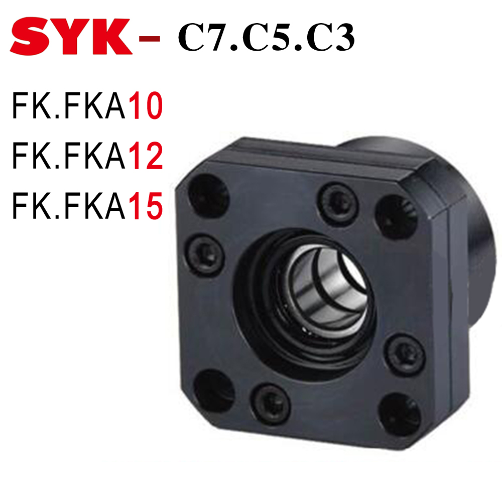 SYK FK10 End Support Unit C3 C5 C7 FK10 FKA10 FK12 FKA12 FK15 FKA15 Motor Bracket Nut Housing for 12mm 16mm Ballscrew 1204 1605 все цены