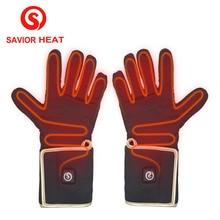 ФОТО savior heat glove liner for winter use riding biking fishing outdoor sports 3-6 hours battery heated gloves touch screen 2200mah