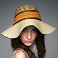 2016 New Lady Sun Hat Summer Straw Hat Women Folded Wide Brim Sun Cap Elegant Travelling Hat New Headwear B-1987