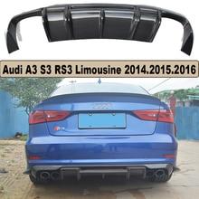 High Quality Carbon Fiber Rear Lip Spoiler Bumper Diffuser For Audi A3 S3 RS3 Limousine 2014.2015.2016 Car Accessories