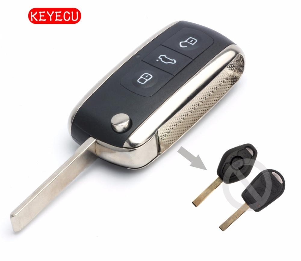 Keyecu Bentley Style Folding Remote Key Fob 3 Button For For BMW All Models 1995-2005 315/433MHZ ID44 CHIP HU92 Blade