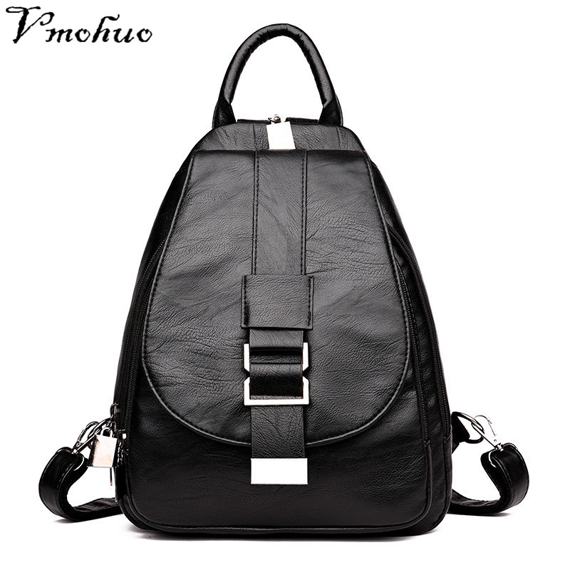 Vmohuo Women Leather Backpacks Chest Vintage Back Pack Sac A Dos Female Designer Brand Backpack For Girls Dayback Ladies Bagpack