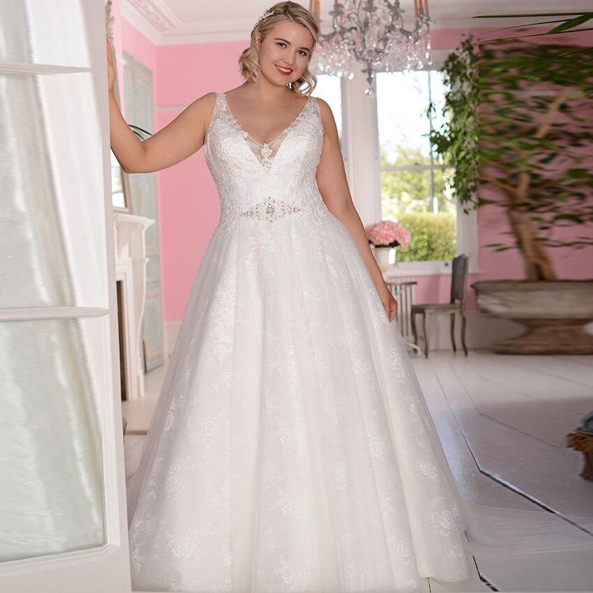 ADLN Sexy V neck Wedding Dresses Cap Sleee Lace A line Vestidos de Novia Bridal Gowns