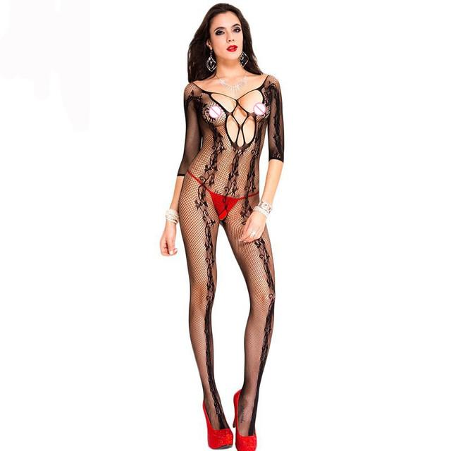 Moda 2017 New Sexy Mulheres Meias Sexy quarto Black Mesh Floral Floral Vine Meias Arrastão Corpo LC79725
