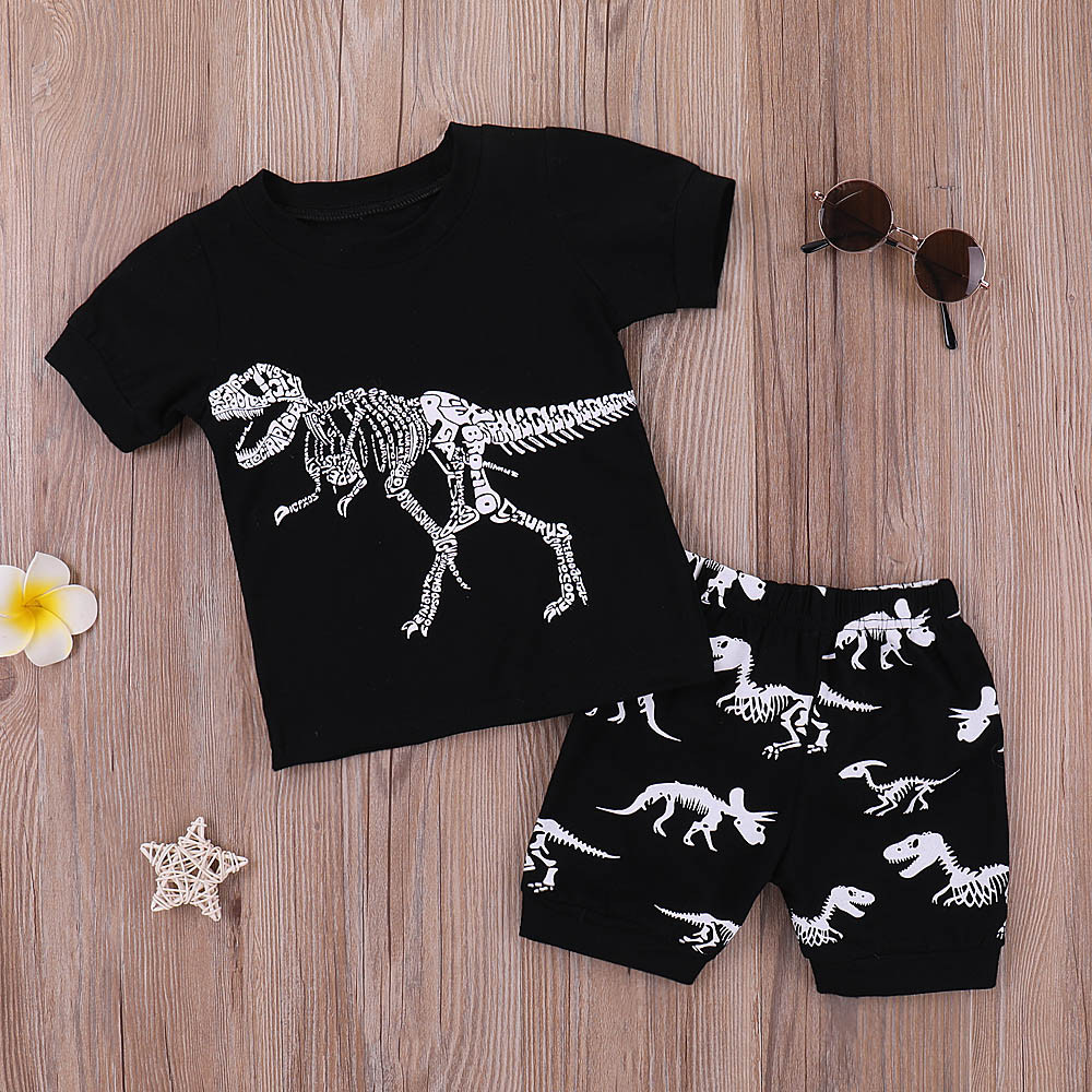 Pajamas Outfits-Set Shorts Dinosaur Toddler Baby-Boys Kids Cartoon Summer Tops Casual