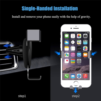 Gravity Reaction Car Mobile Phone Holder Clip Type Air Vent No Magnetic Mount GPS Car Smartphone Stand For iPhone X 7 Samsung S9 2