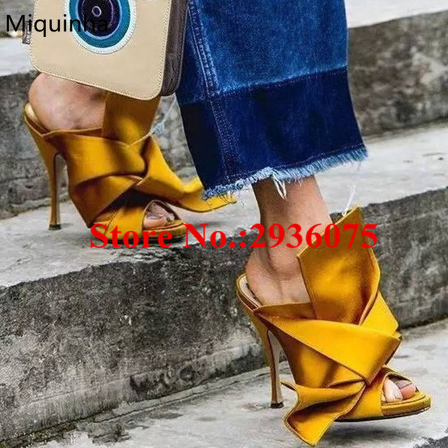 b2914b7e7b Fashion Gelb Big Bow Satin Street Style Hausschuhe Verknotet Peep Toe High  Heels Slides Sommer Crossover